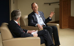 Whole Foods co-CEO Walter Robb speaks with Fuqua Business School Dean Bill Boulding about entrepreneurship Tuesday afternoon.