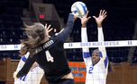 Jeme Obeime continued her strong play against Virginia, notching 10 kills.
