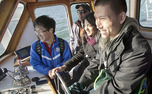 Students venture off the coast with professional seamen to learn about ocean conservation as part of this year's Winter Forum at the Duke Marine Lab.