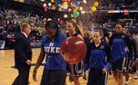 The Blue Devils could not keep up with Notre Dame's Kayla McBride and Jewell Loyd, who combined for 51 points to down the Blue Devils for a third time this year.