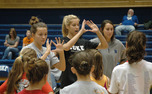 Christina Vucich (center) and the Duke volleyball team have made a habit of holding camps for young girls, and will hold another one Saturday afternoon.