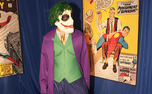 A student dresses up as the Joker from Batman at last year's Heroes and Villains library party.  Due to Perkins Library renovations, there will not be a library party this year.
