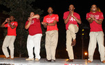 Kappa Alpha Psi fraternity performs a step routine earlier this semester. National Pan-Hellenic Council chapters often use step shows to inform the student body about the rush process.