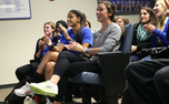 The Blue Devils cheer as they watch the NCAA selection show, in which it was revealed they earned a three seed.