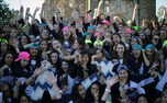 Members of Alpha Phi sorority celebrate the addition of new members on Panhellenic sorority Bid Day Sunday afternoon.