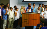 Freshmen at large senators for Duke Student Government were sworn in at the body's meeting Wednesday night.
