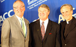 Jack Swarbick, John Swofford and the Rev. John Jenkins announce the addition of Notre Dame to the ACC.