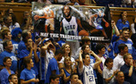 Duke security officials confiscated life-size cutouts and signs mentioning recruit Harrison Barnes from Cameron Indoor Stadium during Saturday's win over Pfeiffer.