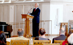 "President Richard Brodhead read Seamus Heaney's ""VII"" and ""Audenesque"" at the poetry reading Tuesday."