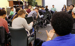 "Students discuss relevant campus issues at  ""Culture Clash,"" an event at the Center for Multicultural Affairs."