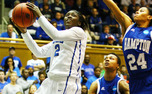 Alexis Jones scored 11 points, dished out 10 assists and grabbed eight rebounds in Duke's win against Hampton.