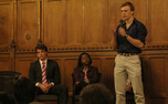 Chris Brown, Alexandra Swain and Strat Waldt take part in a debate in the Great Hall Wednesday.
