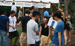 Students, faculty and alumni gathered for free food, drinks and gifts on Chapel Drive Monday for the Forever Duke Block Party, held annually on the first day of classes.