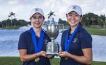 Lindy Duncan and teammate Erynne Lee hold their trophy for winning the women's title at the 2013 Copa de las Americas.