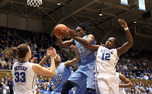 Chelsea Gray battles for a rebound during the first half. Duke handily defeated the University of North Caroline 96-56