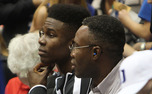 Semi Ojeleye sits at the Duke-Georgia State game on his official visit to Duke earlier in the season.