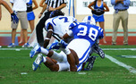 Jordon Byas, No. 38, and Kyler Brown, No. 56, returned to Duke's defense after battling injuries to begin the season.