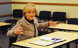 Former Gov. Bev Perdue speaks to a seminar class  at the Sanford School of Public Policy Tuesday. Late last week, Purdue was chosen to be a distinguished fellow at the University starting this Fall.
