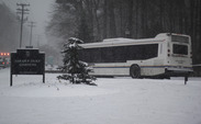 Buses have skidded as they shuttle students and faculty between campuses. This bus appeared to be stuck outside of the Sarah P. Duke Gardens.