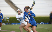Senior Taylor Trimble put up three goals in Saturday's scrimmage against Towson.