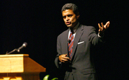 Newsweek International Editor Fareed Zakaria, addresses an audience in Page Auditorium Monday night about how globalization impacts the United States.