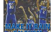 "After Duke's 79-60 win against Florida State in which the Blue Devils made 11-of-18 3-pointers, this week's Sportswrap is titled, ""MAKE IT RAIN ON THEM NOLES."" (Photo credit: Faith Robertson/The Chronicle)"