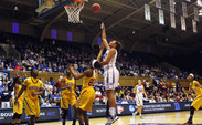 Freshman Kendall McCravey-Cooper recorded 14 points and 10 rebounds in Duke's blowout victory against Winthrop.
