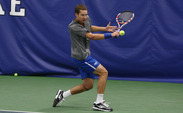 Junior Jason Tahir cruised to a straight-set victory as the Blue Devils swept Michigan.