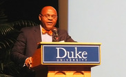 Mo Cowan gives a speech Saturday about the 50th anniversary of integration at Duke.