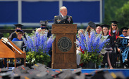 Gen. Martin Dempsey, chairman of the Joint Chiefs of Staff, addresses the class of 2014 during Sunday's commencement ceremony.
