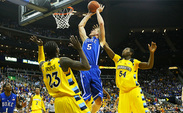 Mason Plumlee turned in his best performance yet as a Blue Devil, scoring 25 points and grabbing 12 boards.