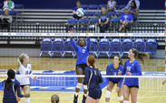 Senior Jeme Obeime, left, garnered all-tournament team accolades for her 49 kills in three games at the Duke Invitational.