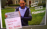 "Some of the ""Who Needs Feminism"" signs were defaced hours after they were posted around campus."
