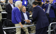Former President George H.W. Bush and his wife were on hand for Duke's win against Gonzaga to get to the Elite Eight.