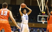 Freshman Azura Stevens scored 12 points in the first half, contributing both in the paint and from beyond the arc.