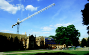 Extensive work is currently being done on either side of the Chapel quadrangle, with the restoration of the West Union on one side and renovations to Perkins and Rubenstein Libraries on the other.