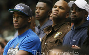 Sporting Duke gear, top recruit Justise Winslow was in attendance for Saturday's game against Miami. (Photo by Nicole Savage/The Chronicle)