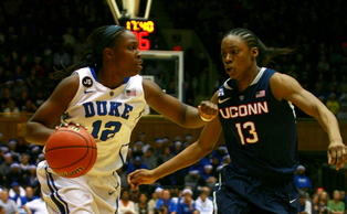 Chelsea Gray led the way for Duke with 13 points, but Connecticut dominated the Blue Devils in an 83-61 win.