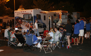 Students in Duke's graduate and professional schools camp out in designated areas of the Blue Zone parking lot to await season tickets for men's basketball.