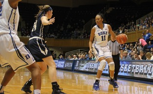 Freshman Azura Stevens recorded her fourth double-double of the season in Thursday's 62-43 win against Pittsburgh.