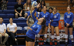 Senior Kelsey Williams recorded her third double-double of the year in Duke's straight-set victory against Wake Forest Sunday.