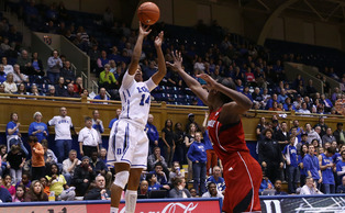 Senior Ka'lia Johnson hit three big triples as the No. 15 Blue Devils earned a resume-building win against No. 8 Louisville Monday.
