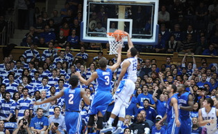 Freshman Jahlil Okafor and the Blue Devils jumped all over Presbyterian early Friday en route to a blowout win.