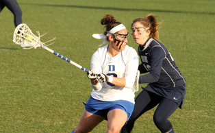 Senior attacker Kerrin Maurer notched a team-high four points on two goals and two assists and also won a career-best nine draws as the Blue Devils defeated Davidson on the road Tuesday night.