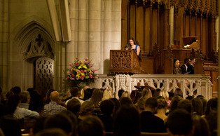 Alumna Kimberly Jenkins delivers the keynote speech at the Greek Convocation ceremony Tuesday evening in Duke Chapel.