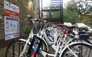 There are currently 50 Zagster bikes set up at four different locations—one at the East Campus bus stop, one at the Central Campus bus stop near Devil's Bistro and two on West Campus, one between the Social Sciences and Allen buildings (pictured) and one by Penn Pavilion.