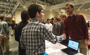 Students meet at the Interfraternity Council Open House at the Nasher Museum of Art Jan. 9.