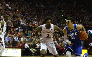 Freshman Tyus Jones netted a double-double with 16 points and 12 assists to help Duke defeat Florida State Monday night.