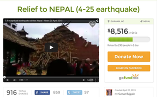 The GoFundMe page started by the four Duke students from Nepal raising relief funds for victims of Saturday's earthquake.