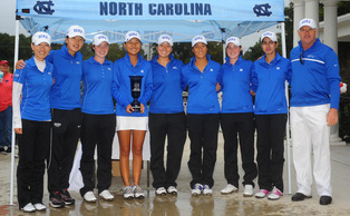 The Blue Devils—led by third-place finishes from Celine Boutier and Leona Maguire—claimed their second consecutive Tar Heel Invitational title. Photo credit: Tim Cowie